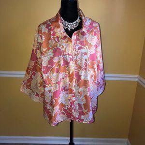 Liz & Co Coral Floral Button Down Blouse